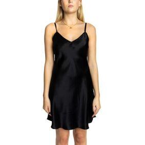 Lady Avenue Silk Satin Nightgown - Black