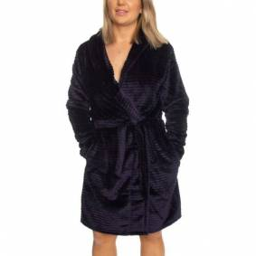 Decoy Women Stripe Robe - Midnightblue