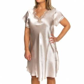 Lady Avenue Pure Silk Nightgown With Lace - Champagne
