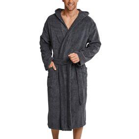 Schiesser Essentials Terry Cloth Bathrobe - Grey