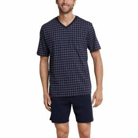 Schiesser Day and Night Short Check Pyjama - Darkblue