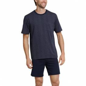 Schiesser Day and Night Short Pattern Pyjama - Darkblue