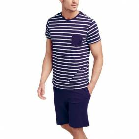 Jockey Cotton Nautical Stripe Short Pyjama - Navy Striped