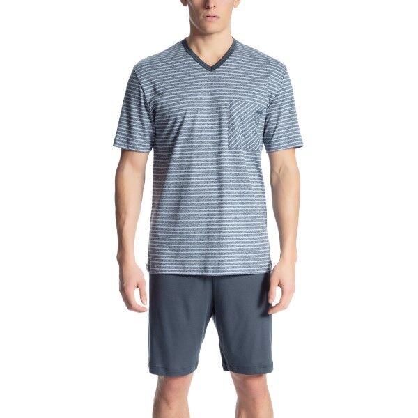 Calida Relax Streamline 2 Short Pyjama - Blue Striped