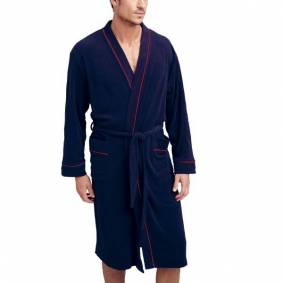 Jockey Bath Robe Fashion Terry S-2XL - Navy-2