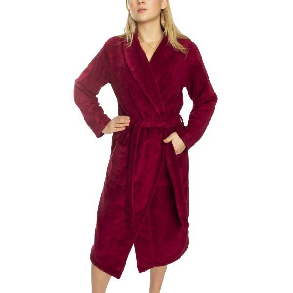 Calvin Klein Women Terry Logo Robe - Wine red