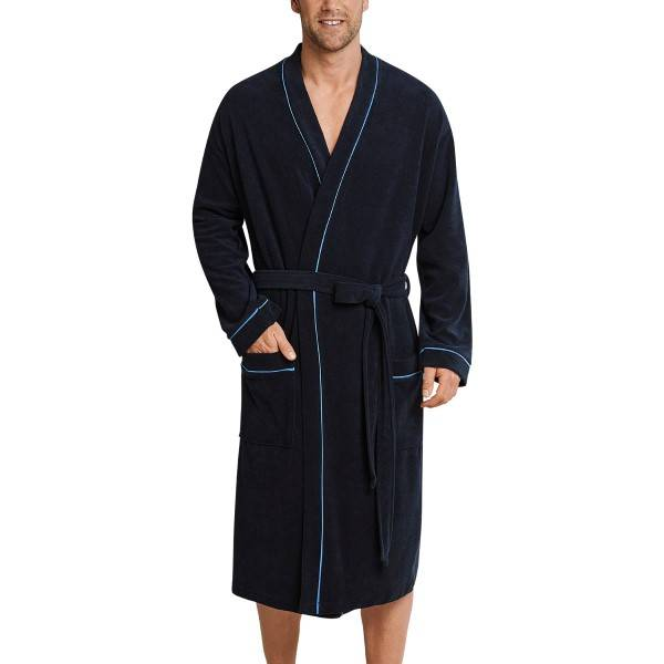 Schiesser Roger Moore Terry Cloth Bathrobe - Navy-2