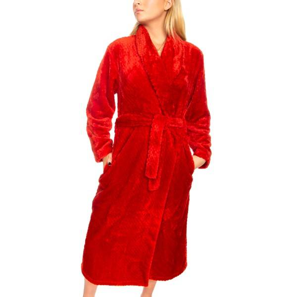 Damella Fleece Waffle Robe - Red