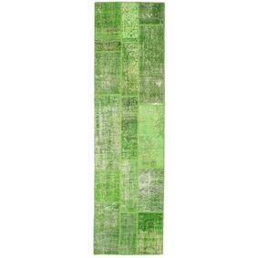 Håndknyttet. Opphav: Turkey Håndknyttet Teppe Patchwork 81X299 Teppeløpere Lysgrønn/Olivengrønn/Pastell Grønn (Ull, Tyrkia)