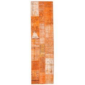 Håndknyttet. Opphav: Turkey Patchwork Teppe 79X300 Teppeløpere Orange/Lysbrun (Ull, Tyrkia)