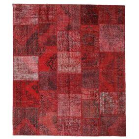 Håndknyttet. Opphav: Turkey Ekte Teppe Patchwork 250X290 Mørk Rød/Rød Stort (Ull, Tyrkia)