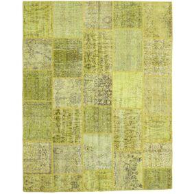 Håndknyttet. Opphav: Turkey Ekte Teppe Patchwork 199X252 Gul/Olivengrønn/Lysgrønn (Ull, Tyrkia)