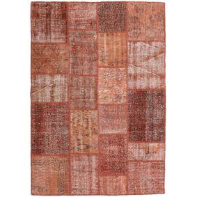 Håndknyttet. Opphav: Turkey 138X197 Patchwork Teppe Ekte Moderne Håndknyttet Mørk Rød/Lysbrun (Ull, Tyrkia)