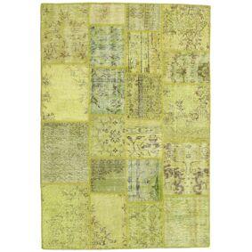 Håndknyttet. Opphav: Turkey Ekte Teppe Patchwork 138X202 Gul/Lysgrønn/Olivengrønn (Ull, Tyrkia)