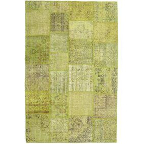 Håndknyttet. Opphav: Turkey Ekte Teppe Patchwork 194X302 Olivengrønn/Lysgrønn (Ull, Tyrkia)