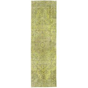 Håndknyttet. Opphav: Turkey Colored Vintage Teppe 86X296 Teppeløpere Lysgrønn/Olivengrønn (Ull, Tyrkia)