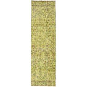 Håndknyttet. Opphav: Turkey Colored Vintage Teppe 80X282 Ekte Moderne Håndknyttet Teppeløpere Olivengrønn/Gul (Ull, Tyrkia)