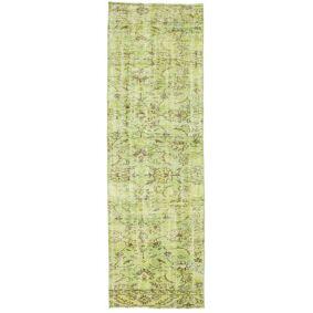 Håndknyttet. Opphav: Turkey Colored Vintage Teppe 82X261 Teppeløpere Lysgrønn (Ull, Tyrkia)