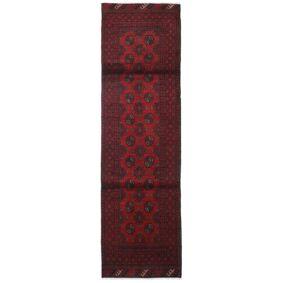 Håndknyttet. Opphav: Afghanistan Afghan Teppe 83X290 Ekte Orientalsk Håndknyttet Teppeløpere Mørk Rød/Svart (Ull, Afghanistan)
