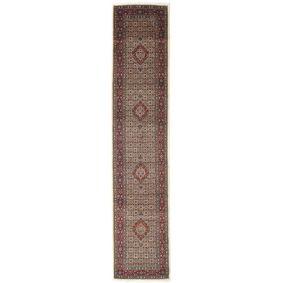 Håndknyttet. Opphav: Persia / Iran Orientalsk Moud Teppe 81X395 Teppeløpere Mørk Brun/Mørk Rød (Ull/Silke, Persia/Iran)