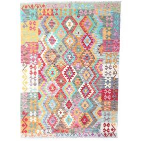 Håndknyttet. Opphav: Afghanistan 128X177 Kelim Afghan Old Style Teppe Ekte Orientalsk Håndvevd Hvit/Creme/Beige (Ull, Afghanistan)