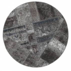 Håndknyttet. Opphav: Persia / Iran Patchwork - Persien/Iran Teppe Ø 150 Rundt Mørk Grå/Lys Grå (Ull, Persia/Iran)