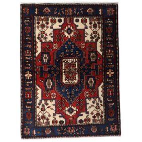 Håndknyttet. Opphav: Persia / Iran Hamadan Teppe 110X150 Mørk Blå/Mørk Rød (Ull, Persia/Iran)