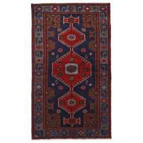 Håndknyttet. Opphav: Persia / Iran 125X217 Hamadan Teppe Ekte Orientalsk Håndknyttet Mørk Blå/Mørk Rød (Ull, Persia/Iran)