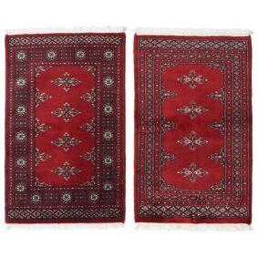 Håndknyttet. Opphav: Pakistan Pakistan Bokhara 2Ply Teppe 91X97 Ekte Orientalsk Håndknyttet Mørk Rød/Rød (Ull, Pakistan)