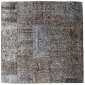 Håndknyttet. Opphav: Persia / Iran Patchwork - Persien/Iran Teppe 204X204 Kvadratisk Mørk Grå/Lys Grå/Brun (Ull, Persia/Iran)