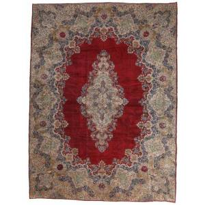 Håndknyttet. Opphav: Persia / Iran Håndknyttet Teppe Kerman Ca. 1980 450X600 Mørk Rød/Lys Grå Stort (Ull, Persia/Iran)