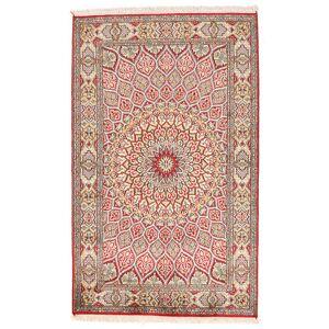 Håndknyttet. Opphav: India Orientalsk Kashmir Ren Silke Teppe 94X150 Beige/Lys Grå (Silke, India)