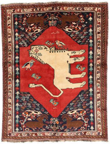 RugVista Ghashghai Figur/Bilde Teppe 150X202 Ekte Orientalsk Håndknyttet Mørk Rød/Rust (Ull, Persia/Iran)