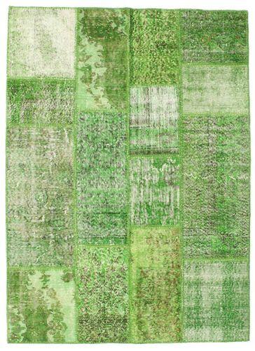 RugVista Patchwork Teppe 140X192 Ekte Moderne Håndknyttet Lysgrønn/Grønn (Ull, Tyrkia)