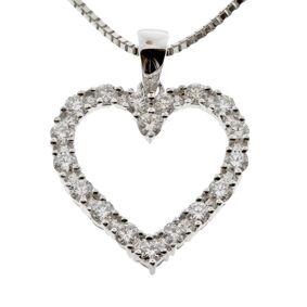 Diamanthjerte hvitt gull 14k (585) 1,00 tw/si.