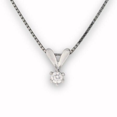Enstens smykke 0,10 ct tw/si hvitt gull 14k (585).