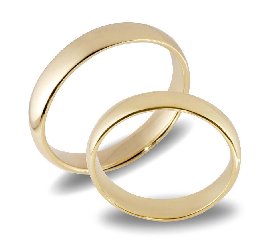 Forlovelsesringer gifteringer gult gull 14 k glatte  ca. 4 mm
