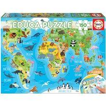 Educa Puslespill 150 Deler World Map Animals