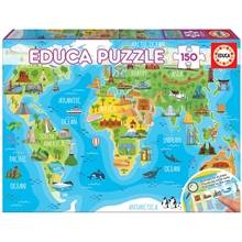 Educa Puslespill World Map Monuments 150 Deler