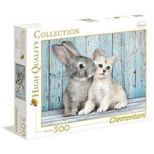 Clementoni Puslespill 500 Deler Cat & Bunny