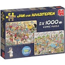 Jan Van Haasteren Puslespill 2x1000 Biter Seafood Supper Clash