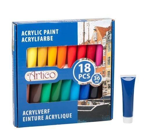 Akrylfarge i tub - 18-pakk