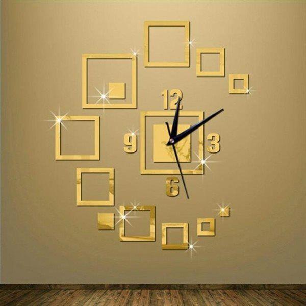 24hshop Veggdekorasjon 3D klokke - Gull