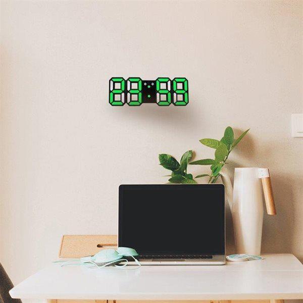 24hshop Stor 3D LED Digital Veggklokke - MultiFunksjon