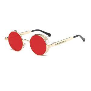 24hshop Steampunk Retro Solbriller Rød/Gull