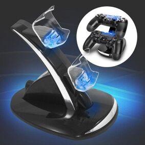 24hshop Ladestasjon til 2x PS4-kontroller med fargerik LED-belysning