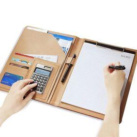 24hshop Dokumentmappe i kunstlær - Dokumentveske med kalkulator