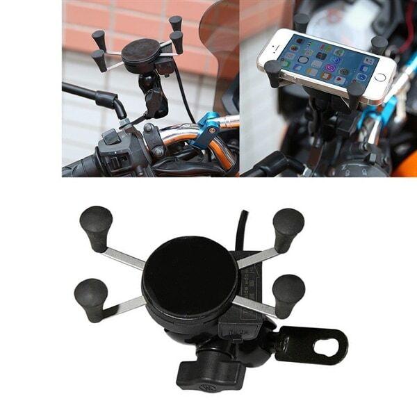 24hshop Universal Motorsykkel mobilholder med usb lader