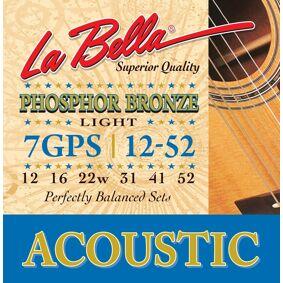 LaBella 7GPS Acoustic Guitar Phosphor Bronze Light 12-52 - Strengesett