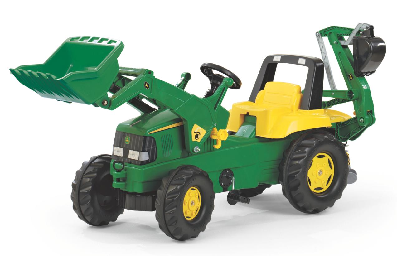Rolly Toys RollyJunior John Deere tråtraktor med frontlaster og graveredskap